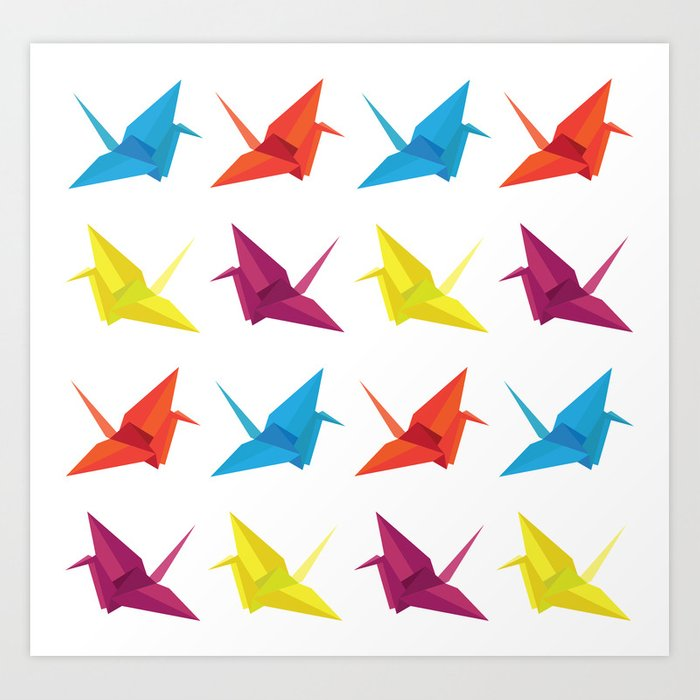 picture about Origami Crane Instructions Printable titled Origami Cranes Habit Artwork Print