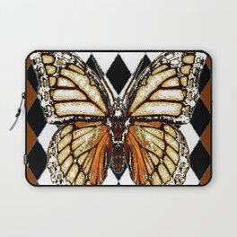 BLACK HARLEQUIN PATTERNED BROWN-WHITE  BUTTERFLY Laptop Sleeve