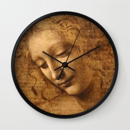 Head of a Woman Painting by Leonardo da Vinci Wall Clock