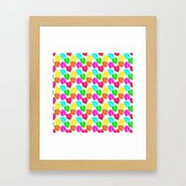 Neon Hawaiian Rainbow Monstera Leaves Framed Art Print