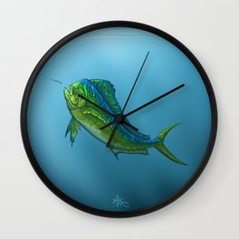 """El Dorado"" by Amber Marine ~ Mahi Mahi / Dolphin Fish Art, (Copyright 2015) Wall Clock"