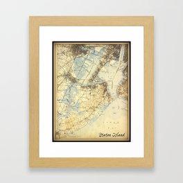 Vintage Staten Island Map Framed Art Print