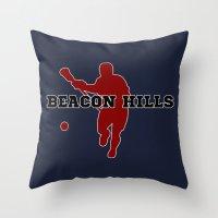 lacrosse Throw Pillows featuring Beacon Hills Lacrosse by Keyweegirlie