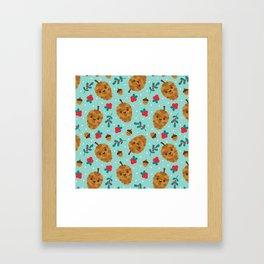 Pinecone + Acorn Surface Patten Design / Blue Framed Art Print
