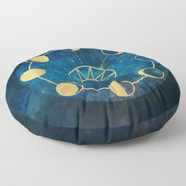 Gold Moon Phases Sun Stars Night Sky Navy Blue Floor Pillow