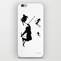 skiing iPhone & iPod Skins featuring Skiing silhouettes by By Myyna