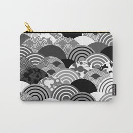 Nature background with japanese sakura flower, Cherry, wave circle Black gray white colors Carry-All Pouch