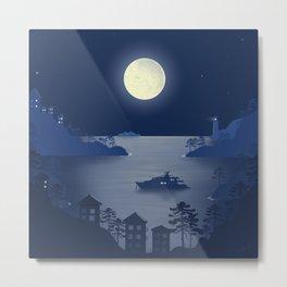 Night in Liguria - Minimal Art Metal Print