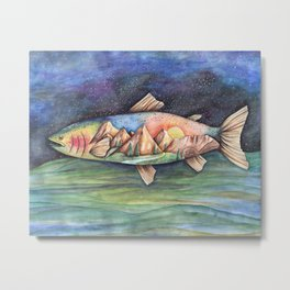 Rainbow Trout and Mountains Metal Print