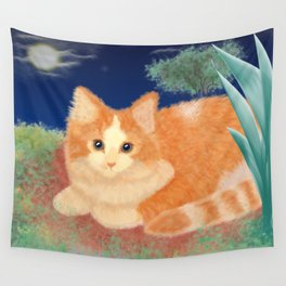 Moonlight Orange Cat Wall Tapestry