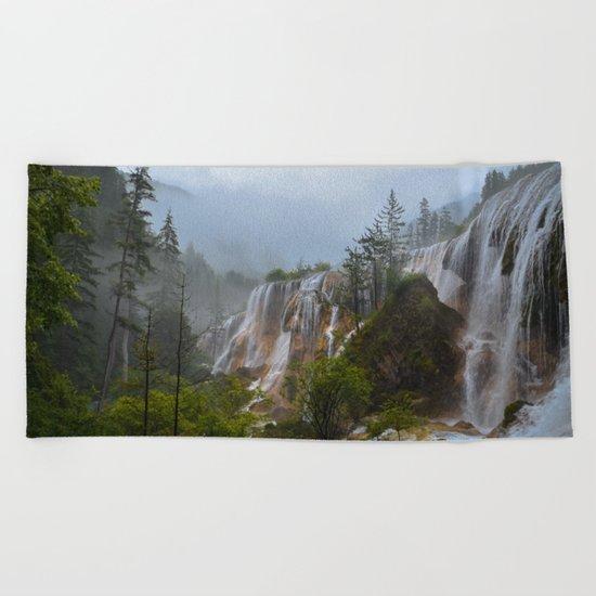 waterfall #society6 Beach Towel