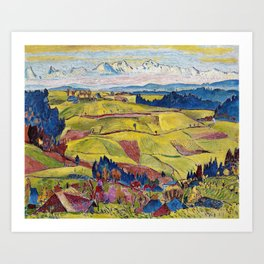Chamonix Valley and Snow-capped French Alps landscape by Cuno Amiet Art Print
