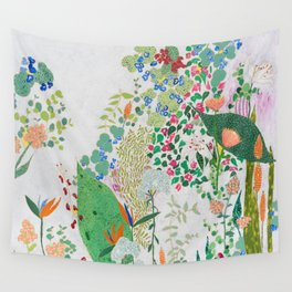 Painterly Floral Jungle on Pink and White Wall Tapestry