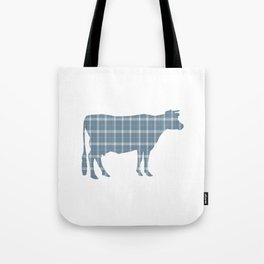 Cow: Neutral Blue Plaid Tote Bag