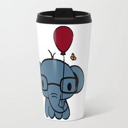 cute elephant with glasses holding a balloon Travel Mug