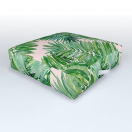 Green palm leaves on a light pink background. Outdoor Floor Cushion
