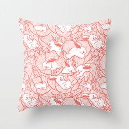 Where the bunnies sleep (rose) Throw Pillow