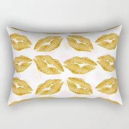 Gold Foil Lips Colorful Polka Dots Rectangular Pillow
