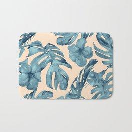 Island Vacay Hibiscus Palm Pale Coral Teal Blue Bath Mat