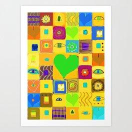 Warm Hearts--Yellow Art Print