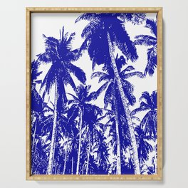 Palm Trees Design in Blue and White Serving Tray