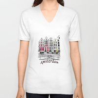 amsterdam V-neck T-shirts featuring Amsterdam by Pixelpolly