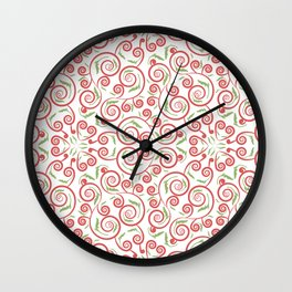 seamless pattern with leaves Wall Clock