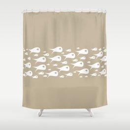 Fish Stripe Minimalist Mid Century Modern Ocean Pattern in White and Neutral Flax Shower Curtain