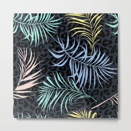 Palm leaves and leopard skin pattern Metal Print