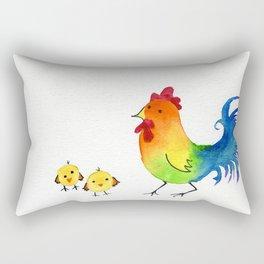 Little Rainbow Roosters Rectangular Pillow