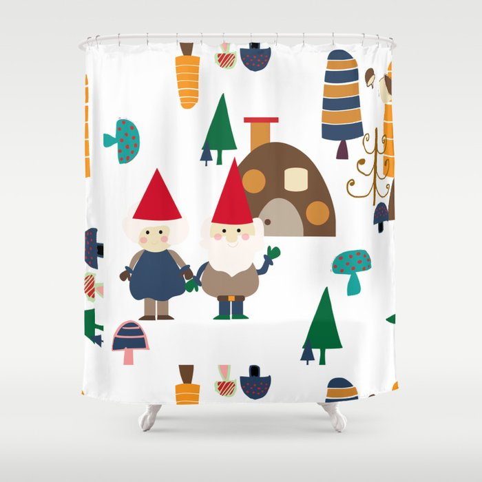 Gnome White Shower Curtain