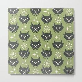 Retro Mid Century Modern Cat Pattern 323 Olive Green Metal Print