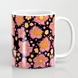 Pretty Pink And Yellow Floral Pattern Coffee Mug
