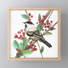 Berry Nice Chickadee Framed Mini Art Print
