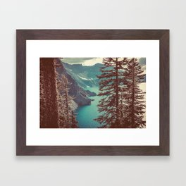 Vintage Blue Crater Lake and Trees - Nature Photography Framed Art Print