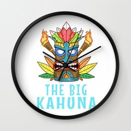 Tiki Gift Design Hawaiian Island The Big Kahuna Print Wall Clock