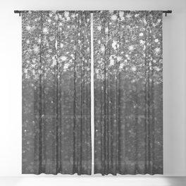 Black & Silver Glitter Gradient Sheer Curtain