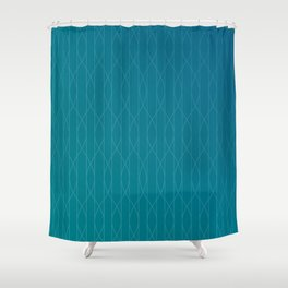 Wave pattern in teal Shower Curtain