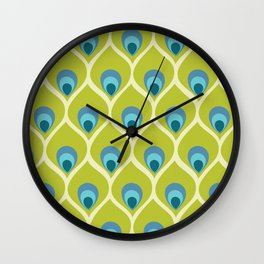 Modern Peacock Feather Blue Green Abstract Pattern Wall Clock