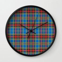 Tartan blue and red Wall Clock