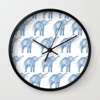 elephants Wall Clocks featuring Elephants  by Emily Lanier