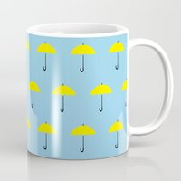 himym Mugs featuring HIMYM Yellow Umbrella by tralalavelling