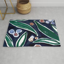 Fall leaves - terracotta navy and green Rug