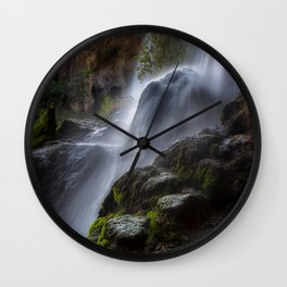 Pictures USA Rifle Falls State Park Colorado Cliff Nature Waterfalls Moss Stones Rock Crag stone Wall Clock