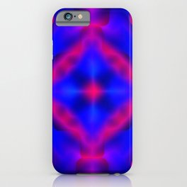 Bright pattern of blurry violet and blue flowers in a dark kaleidoscope. iPhone Case
