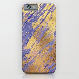 Rose Gold Glitter Faux Marble on Periwinkle Blue iPhone Case