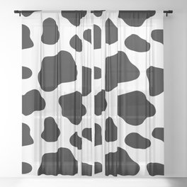 Cow Spots Pattern Cows Animal Farmer Black and White Art Sheer Curtain