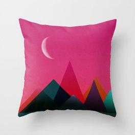 moon light geometric abstract landscape Throw Pillow