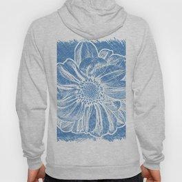 White Flower On Denim Blue Crayon Hoody