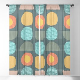 Contemporary abstract pebbles Sheer Curtain